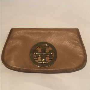 Tory Burch leather clutch with large logo